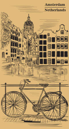 Bicycle on bridge over the canal of Amsterdam, Netherlands. Landmark of Netherlands. Vector hand drawing illustration in black color isolated on brown background.