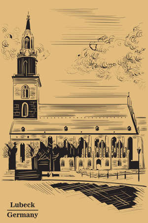 Church of St. Mary in Berlin (Lubeck), Germany. Landmark of Berlin. Vector hand drawing illustration in black  color isolated on brown background.