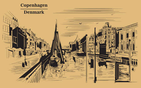 Pier in Copenhagen, Denmark. Landmark of Denmark. Vector hand drawing illustration in black color isolated on brown background.