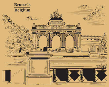 The triumphal arch in the park of the fiftieth anniversary in Brussels (Belgium). Landmark of Brussels. Vector hand drawing monochrome illustration isolated on brown background. Illustration