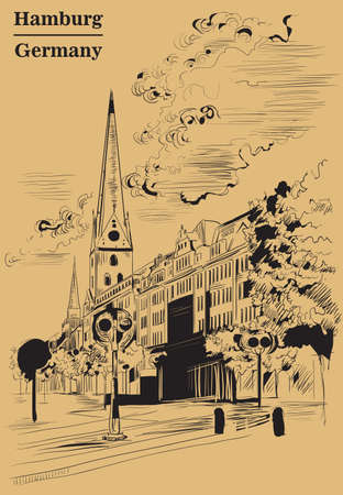 View of Hauptkirche St. Peter's Church in Hamburg, Germany. Landmark of Hamburg. Vector hand drawing illustration in black color isolated on brown background.
