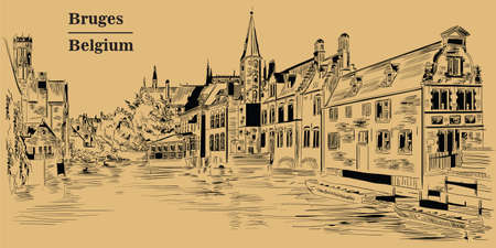 View on Rozenhoedkaai water canal in Bruges, Belgium. Landmark of Belgium. Vector hand drawing illustration in black color isolated on brown background.