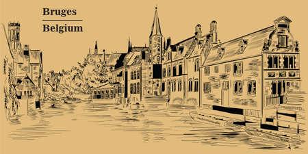 View on Rozenhoedkaai water canal in Bruges, Belgium. Landmark of Belgium. Vector hand drawing illustration in black color isolated on brown background. 写真素材 - 102825033