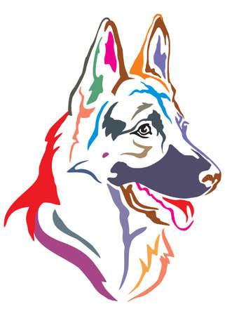 Colorido retrato decorativo en perfil de perro pastor alemán, ilustración vectorial en diferentes colores aislado sobre fondo blanco. Ilustración de vector