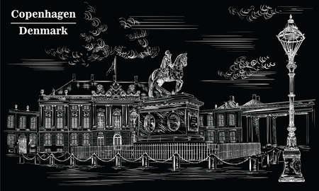 Amalienborg Square in Copenhagen, Denmark. Landmark of Denmark. Vector hand drawing illustration in white color isolated on black background. Stock Illustratie