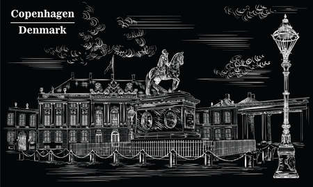 Amalienborg Square in Copenhagen, Denmark. Landmark of Denmark. Vector hand drawing illustration in white color isolated on black background. Ilustração
