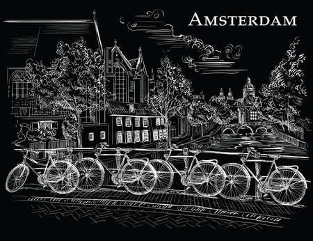 オランダ、アムステルダムの運河に架かる橋の上の自転車。オランダのランドマーク。黒の背景に隔離された白い色のベクトル手描きイラスト。