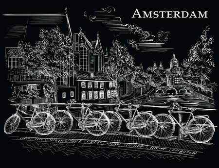 Bicycles on bridge over the canals of Amsterdam, Netherlands. Landmark of Netherlands. Vector hand drawing illustration in white color isolated on black background.