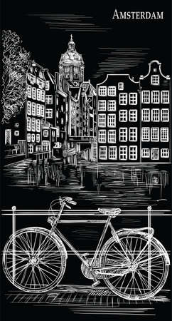 Bicycle on bridge over the canal of Amsterdam, Netherlands. Landmark of Netherlands. Vector hand drawing illustration in white color isolated on black background. Иллюстрация