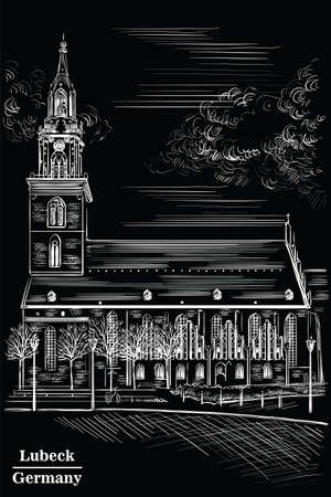 Church of St. Mary in Berlin (Lubeck), Germany. Landmark of Berlin. Vector hand drawing illustration in white  color isolated on black background.