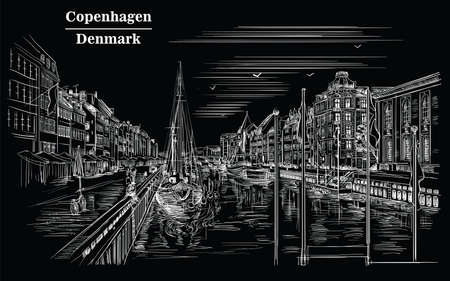 Pier in Copenhagen, Denmark. Landmark of Denmark. Vector hand drawing illustration in white color isolated on black background. Vettoriali