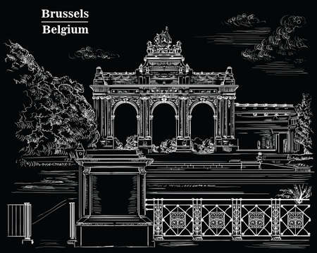 The triumphal arch in the park of the fiftieth anniversary in Brussels (Belgium). Landmark of Brussels. Vector hand drawing monochrome illustration in white color isolated on back background.