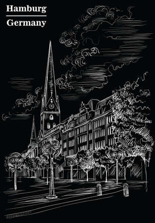 View of Hauptkirche St. Peters Church in Hamburg, Germany. Landmark of Hamburg. Vector hand drawing illustration in white color isolated on black background.