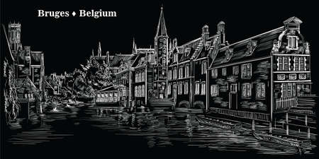 View on Rozenhoedkaai water canal in Bruges, Belgium. Landmark of Belgium. Vector hand drawing illustration in white color isolated on black background.