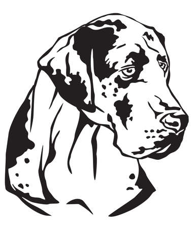 Decorative portrait in profile of dog Great Dane, vector isolated illustration in black color on white background