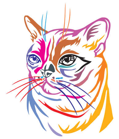 Colorful decorative portrait in profile of Burmese Cat, contour vector isolated illustration in black color on white background Ilustração