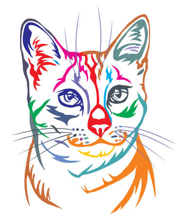 Colorful decorative portrait in profile of Egyptian Mau Cat, contour vector isolated illustration in black color on white background