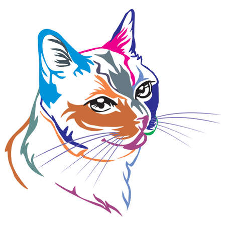 Colorful decorative portrait in profile of Thai Cat, contour vector isolated illustration in black color on white background