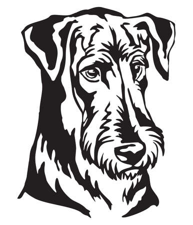 Decorative portrait of Dog Airedale Terrier, vector isolated illustration in black color on white background. Image for design and tattoo.
