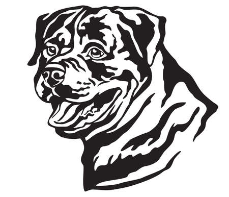 Decorative portrait of Dog Rottweiler, vector isolated illustration in black color on white background. Image for design and tattoo.