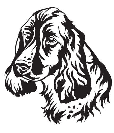 Decorative portrait of Dog Russian Spaniel, vector isolated illustration in black color on white background. Image for design and tattoo.