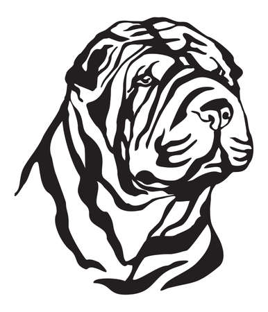 Decorative portrait of Dog Shar Pei, vector isolated illustration in black color on white background. Image for design and tattoo. Illustration