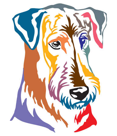 Colorful decorative portrait of Dog Airedale Terrier, vector illustration in different colors isolated on white background. Image for design and tattoo.