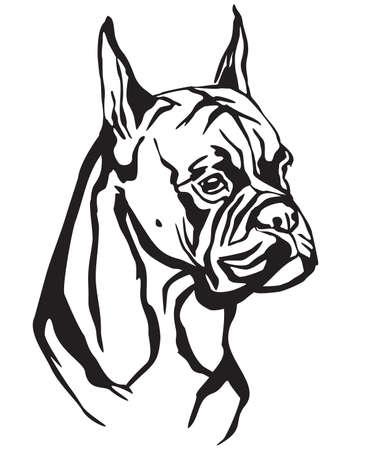 Retrato decorativo de perro Boxer, vector ilustración aislada en color negro sobre fondo blanco. Imagen para diseño y tatuaje.