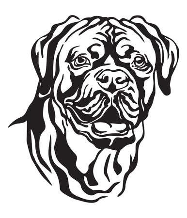 Retrato decorativo de perro Dogo de Burdeos (Mastín francés), vector ilustración aislada en color negro sobre fondo blanco. Imagen para diseño y tatuaje. Ilustración de vector