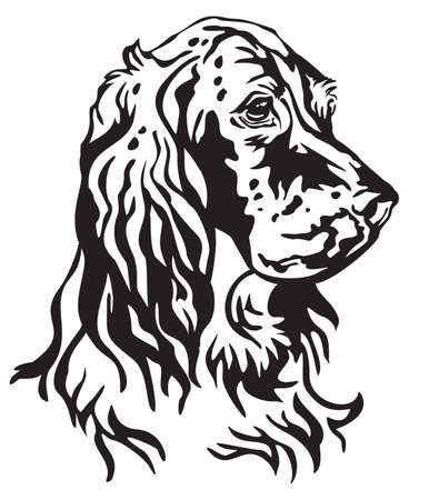 Decorative portrait of Dog English Setter, vector isolated illustration in black color on white background. Image for design and tattoo.