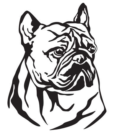 Decorative portrait of Dog French Bulldog, vector isolated illustration in black color on white background. Image for design and tattoo.