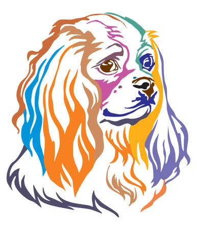 Colorful decorative portrait of Dog Cavalier King Charles Spaniel, vector illustration in different colors isolated on white background. Image for design and tattoo.