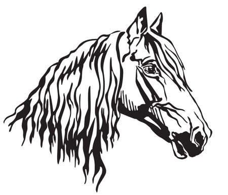 Decorative portrait in profile of Orlov Trotter horse, vector isolated illustration in black color on white background. Image for design and tattoo.