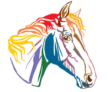 Colorful decorative portrait in profile of Trakehner horse-4, vector illustration in different colors isolated on white background. Image for design and tattoo. Çizim