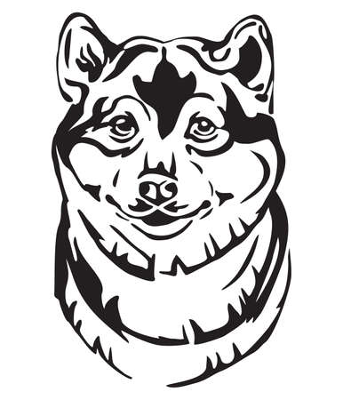 Decorative portrait of Dog Shiba Inu, vector isolated illustration in black color on white background. Image for design and tattoo.