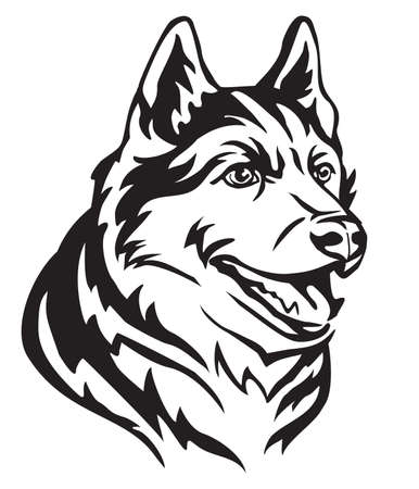 Decorative portrait in profile of Dog Siberian Husky, vector isolated illustration in black color on white background. Image for design and tattoo.