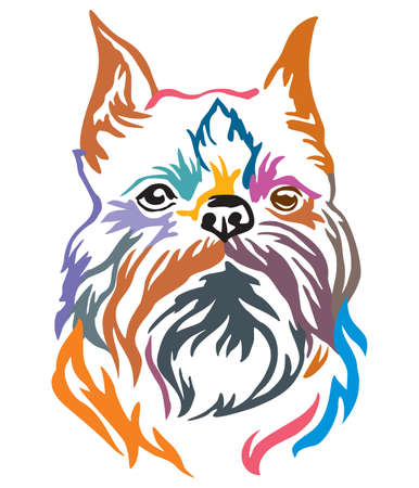 Colorful decorative portrait of Dog Brussels Griffon, vector illustration in different colors isolated on white background. Image for design and tattoo.