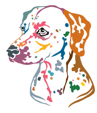 Colorful decorative portrait in profile of Dog Dalmatian, vector illustration in different colors isolated on white background. Image for design and tattoo.