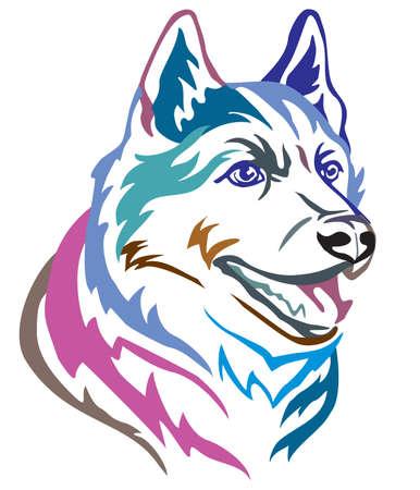 Colorido retrato decorativo en perfil de perro Husky siberiano, ilustración vectorial en diferentes colores aislado sobre fondo blanco. Imagen para diseño y tatuaje. Ilustración de vector