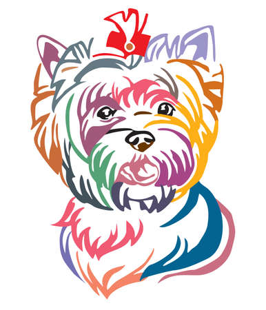 Colorful decorative portrait of Dog Yorkshire Terrier, vector illustration in different colors isolated on white background. Image for design and tattoo. Illustration