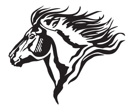 Decorative portrait in profile of running pony with long mane, vector isolated illustration in black color on white background. Image for design and tattoo.