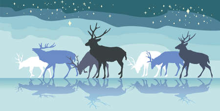 Colorful vector illustration- background with group of walking male deers with reflection under sky with stars. North landscape in night. Ilustração