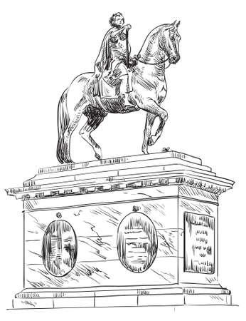 Frederik V on Horseback Statue, in Amalienborg Square in Copenhagen, Denmark. Landmark of Denmark. Vector hand drawing illustration in black color isolated on white background.