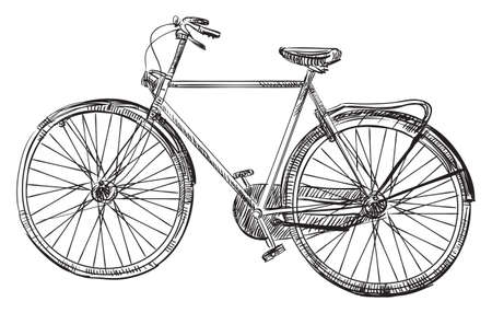 Vector hand drawin bicycle, illustration in black color isolated on white background.