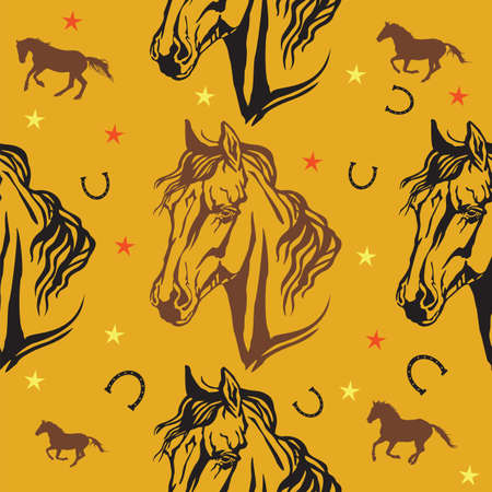 Colorful vector seamless pattern with stars, horseshoes and decorative portraits in profile of Arabian horse, on orange background Stok Fotoğraf - 115065255