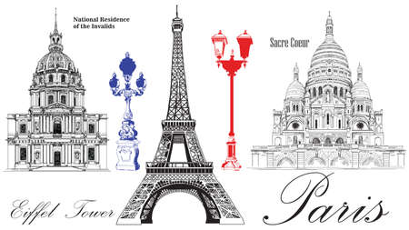 Vector Eiffel Tower, National Residence of the Invalids, Sacre Coeur cathedral. Vector hand drawing image isolated on white background Ilustração