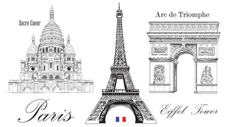 Vector de la torre Eiffel, el arco de triunfo y la catedral de Sacre Coeur Imagen de dibujo a mano vectorial aislada sobre fondo blanco