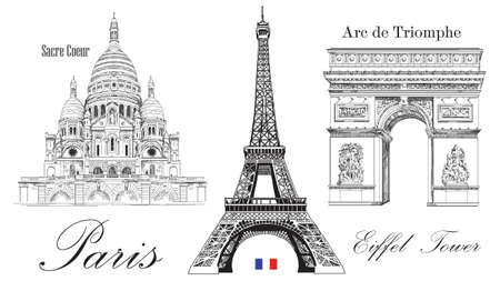 Vector Eiffel Tower, Triumphal Arch and Sacre Coeur cathedral. Vector hand drawing image isolated on white background