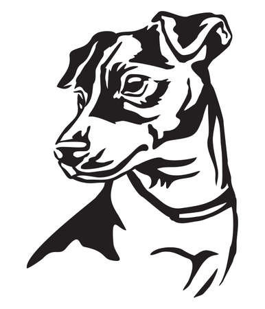 Decorative portrait of dog Jack Russell Terrier, vector isolated illustration in black color on white background