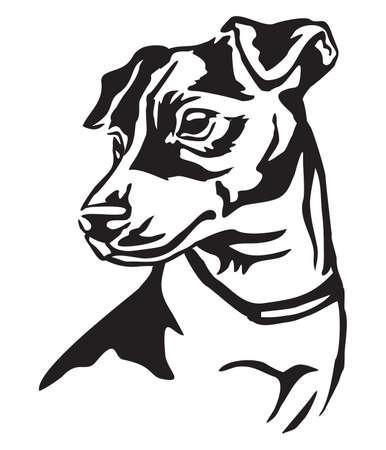 Retrato decorativo de perro Jack Russell Terrier, vector ilustración aislada en color negro sobre fondo blanco. Ilustración de vector
